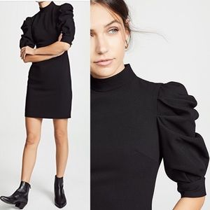 Alice + Olivia Brenna Puff sleeves dress in black